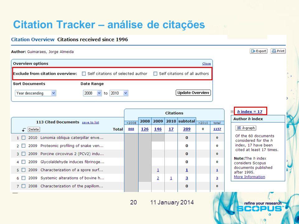 11 January 201420 Citation Tracker – análise de citações