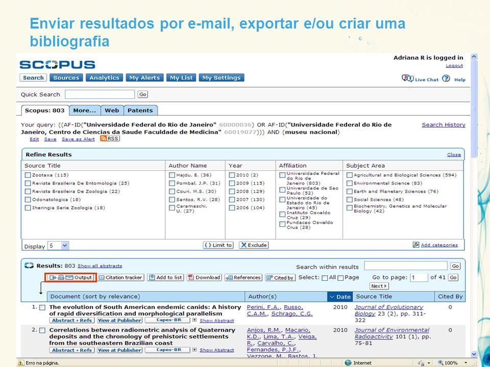 Enviar resultados por e-mail, exportar e/ou criar uma bibliografia