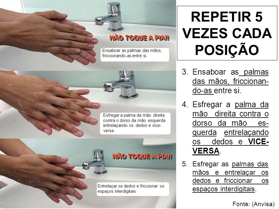 Esfregar o dorso dos dedos de uma mão com a palma da mão oposta, segurando os dedos, com movimento de vai-e-vem e vice- versa.