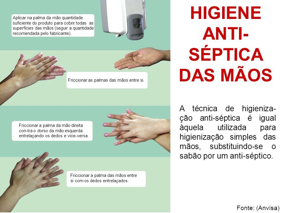 Deixar as mãos secarem naturalmente Friccionar os punhos com movimentos circulares Friccionar as polpas digitais e unhas da mão direita contra a palma da mão esquerda, fazendo um movimento circular e vice-versa.