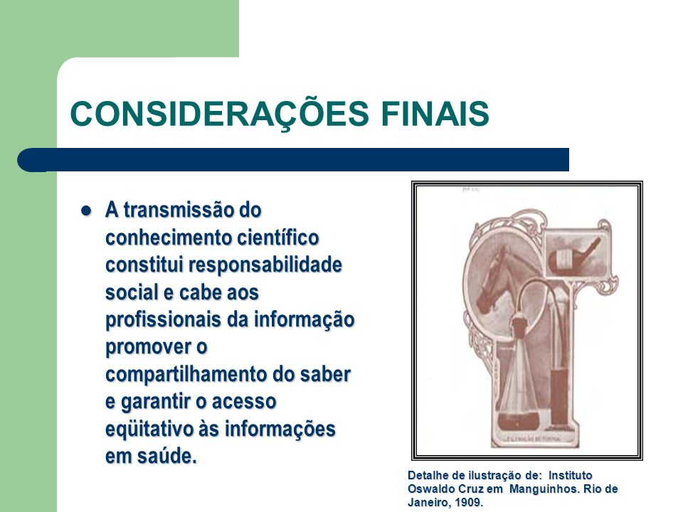 CONSIDERAÇÕES FINAIS A transmissão do conhecimento científico constitui responsabilidade social e cabe aos profissionais da informação promover o comp