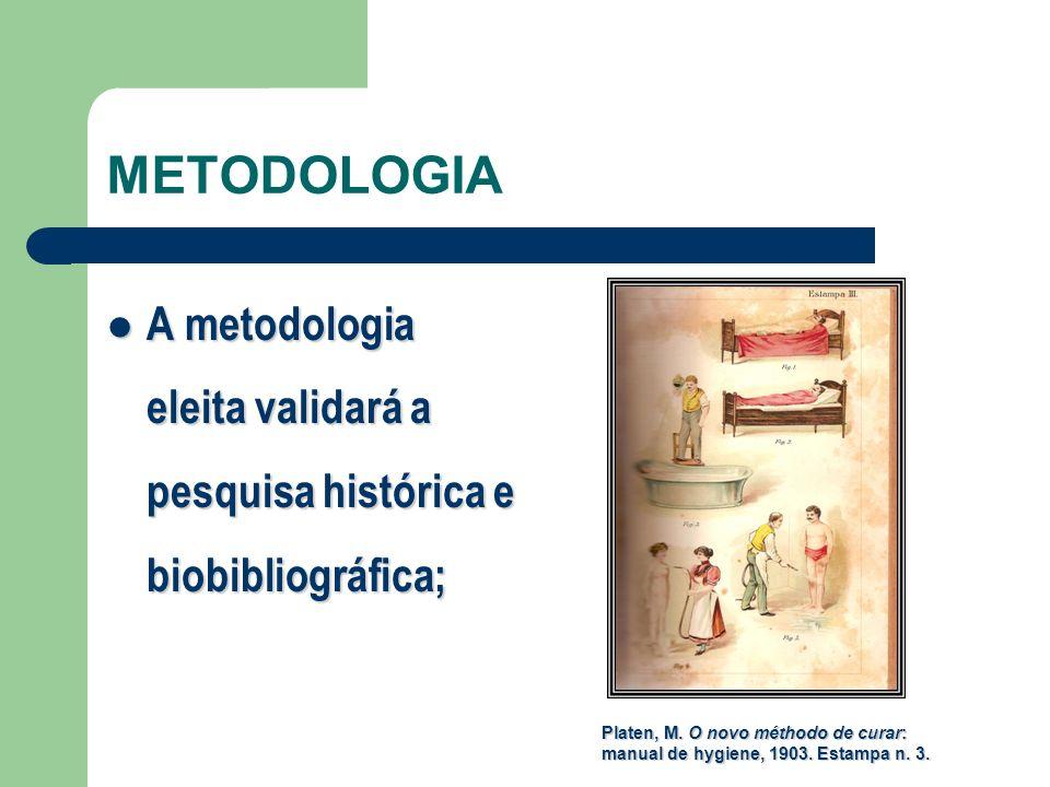 METODOLOGIA A metodologia eleita validará a pesquisa histórica e biobibliográfica; A metodologia eleita validará a pesquisa histórica e biobibliográfi
