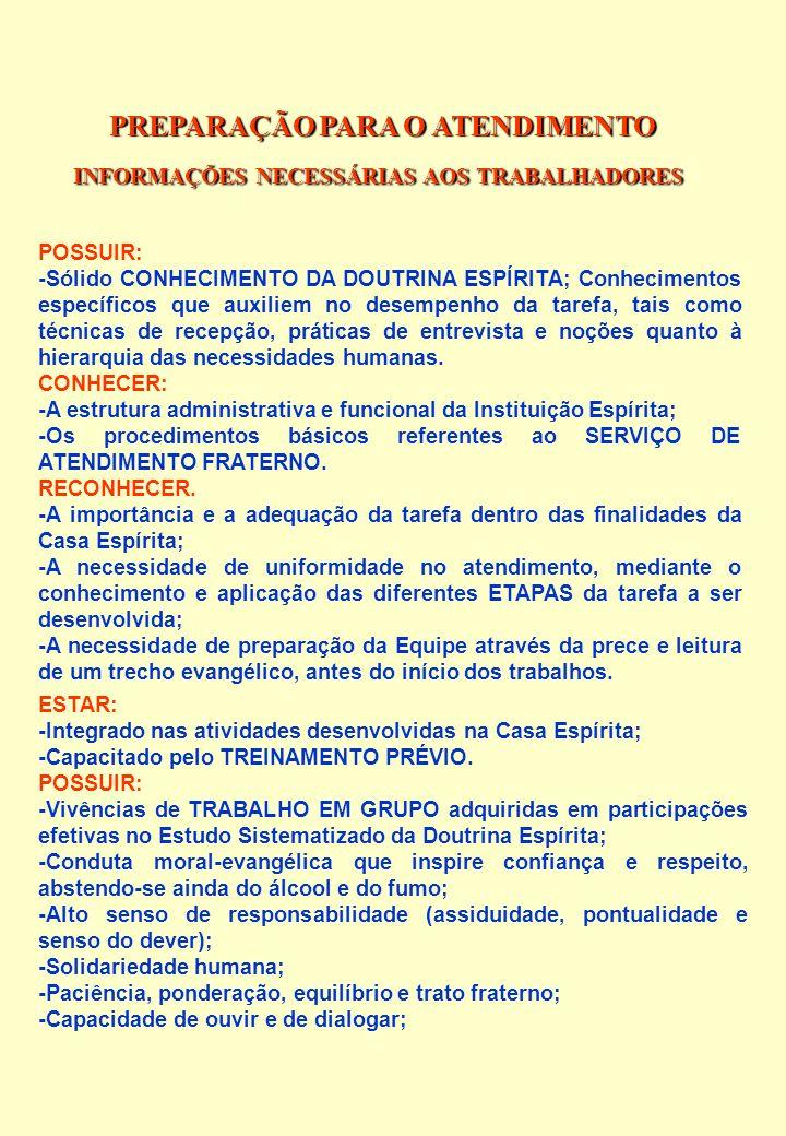 PREPARAÇÃO PARA O ATENDIMENTO INFORMAÇÕES NECESSÁRIAS AOS TRABALHADORES POSSUIR: -Sólido CONHECIMENTO DA DOUTRINA ESPÍRITA; Conhecimentos específicos