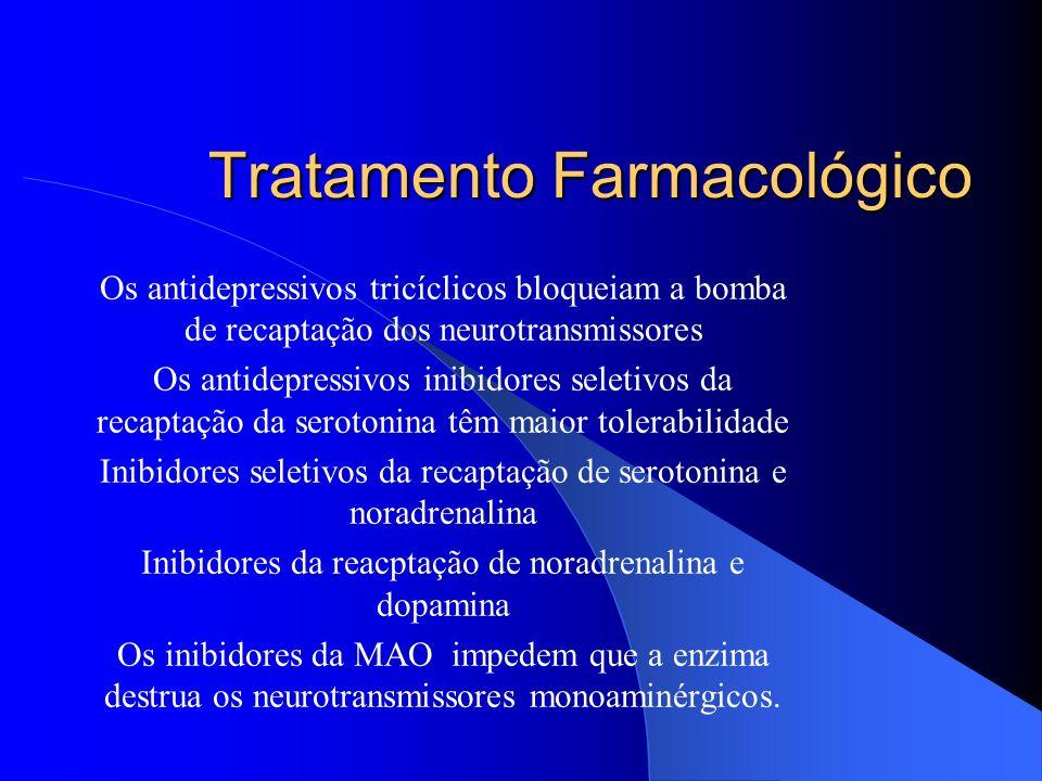 Tratamento Farmacológico Os antidepressivos tricíclicos bloqueiam a bomba de recaptação dos neurotransmissores Os antidepressivos inibidores seletivos