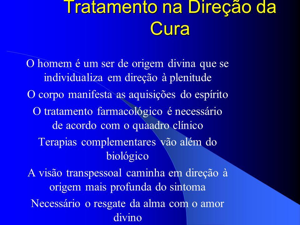 Tratamento na Direção da Cura O homem é um ser de origem divina que se individualiza em direção à plenitude O corpo manifesta as aquisições do espírit