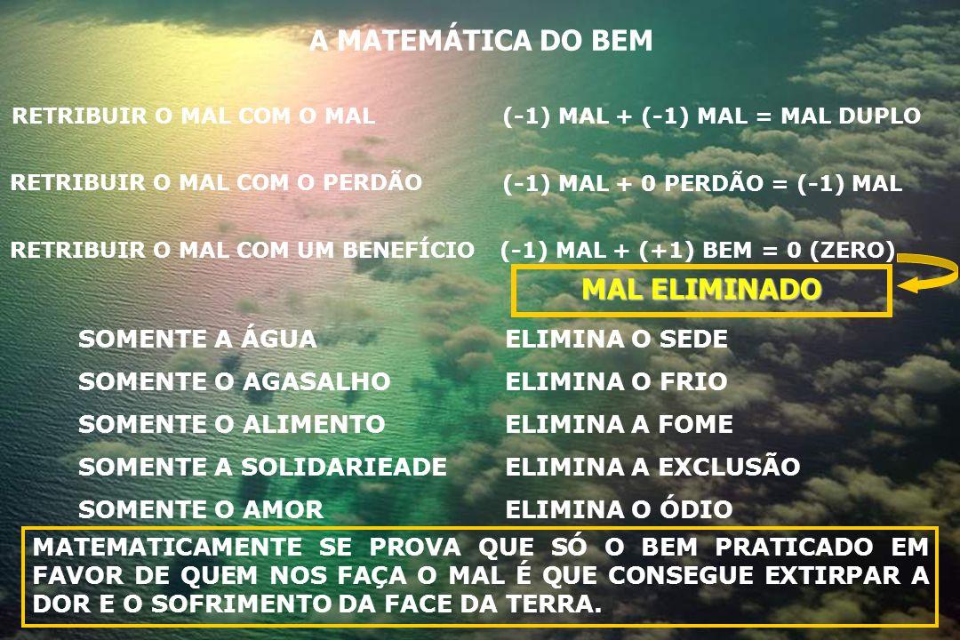 A MATEMÁTICA DO BEM (-1) MAL + (-1) MAL = MAL DUPLORETRIBUIR O MAL COM O MAL RETRIBUIR O MAL COM O PERDÃO RETRIBUIR O MAL COM UM BENEFÍCIO(-1) MAL + (