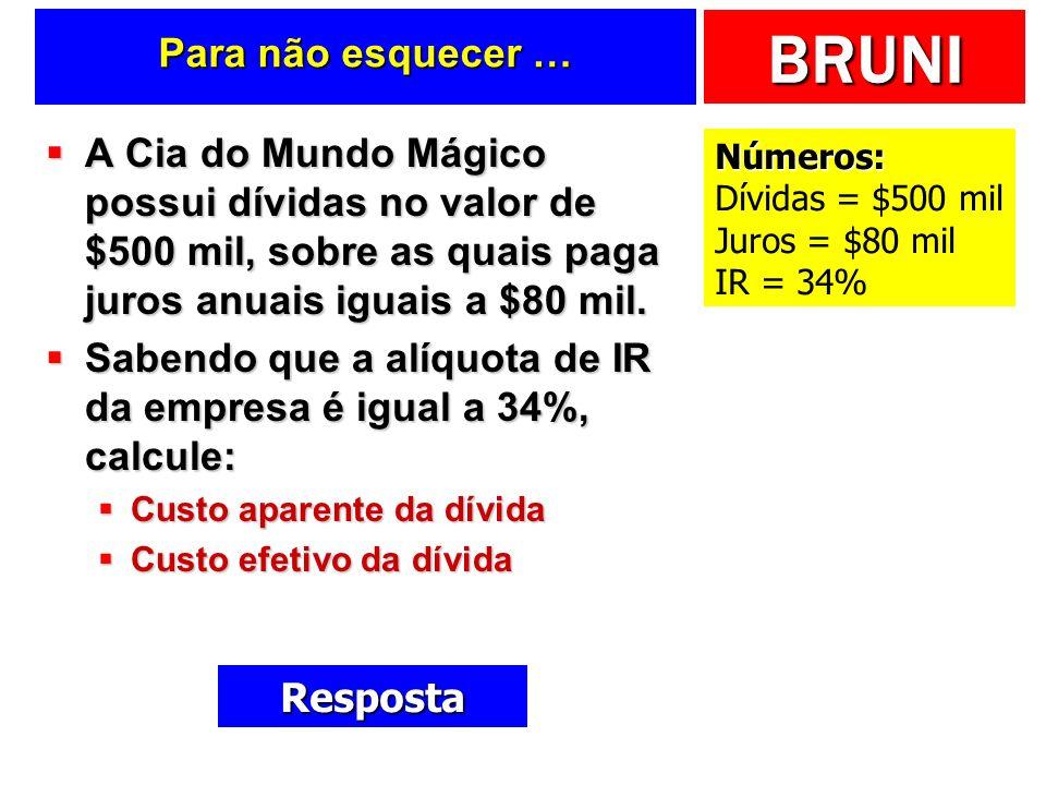 BRUNI Para não esquecer … A Cia do Mundo Mágico possui dívidas no valor de $500 mil, sobre as quais paga juros anuais iguais a $80 mil.
