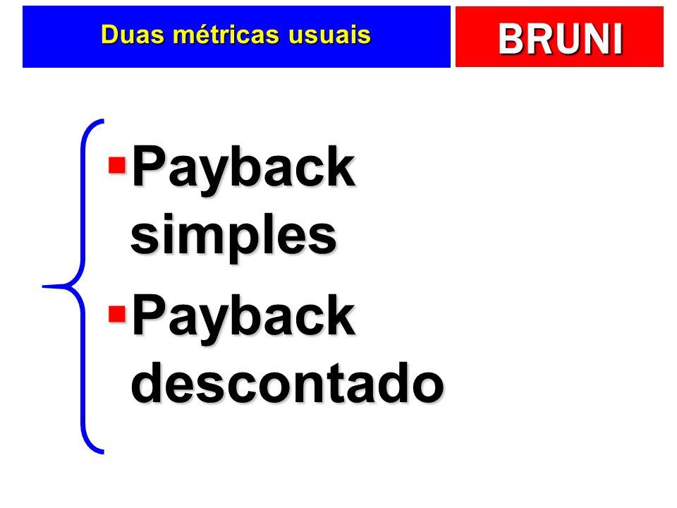 BRUNI Duas métricas usuais Payback simples Payback simples Payback descontado Payback descontado