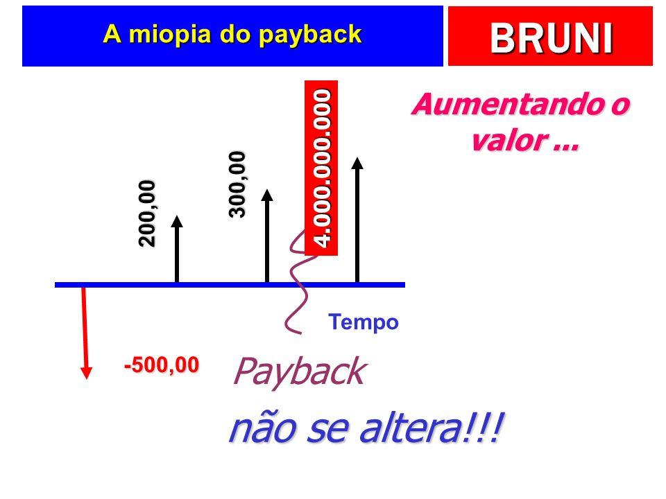 BRUNI A miopia do payback Tempo -500,00 200,00 300,00 400,00 Payback Aumentando o valor... 4.000.000.000 não se altera!!!