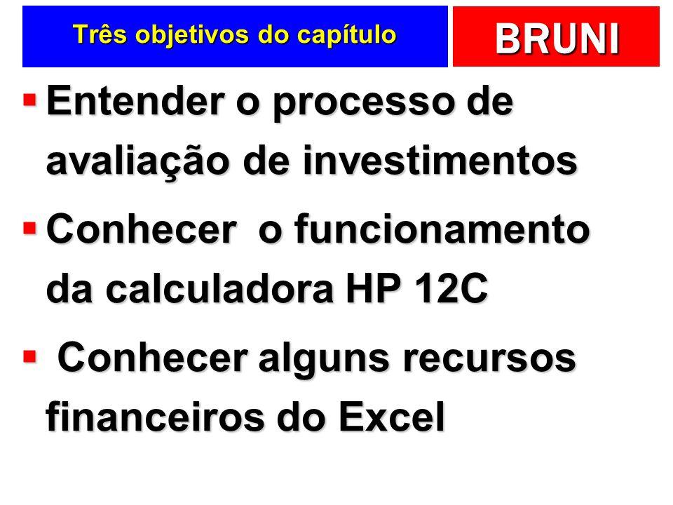 BRUNI Três objetivos do capítulo Entender o processo de avaliação de investimentos Entender o processo de avaliação de investimentos Conhecer o funcionamento da calculadora HP 12C Conhecer o funcionamento da calculadora HP 12C Conhecer alguns recursos financeiros do Excel Conhecer alguns recursos financeiros do Excel