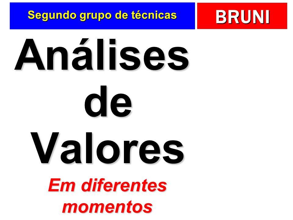 BRUNI Segundo grupo de técnicas Análises de Valores Em diferentes momentos