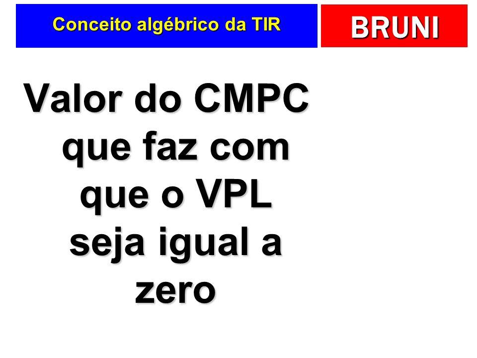 BRUNI Conceito algébrico da TIR Valor do CMPC que faz com que o VPL seja igual a zero