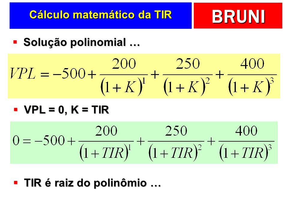 BRUNI Cálculo matemático da TIR Solução polinomial … Solução polinomial … VPL = 0, K = TIR VPL = 0, K = TIR TIR é raiz do polinômio … TIR é raiz do polinômio …