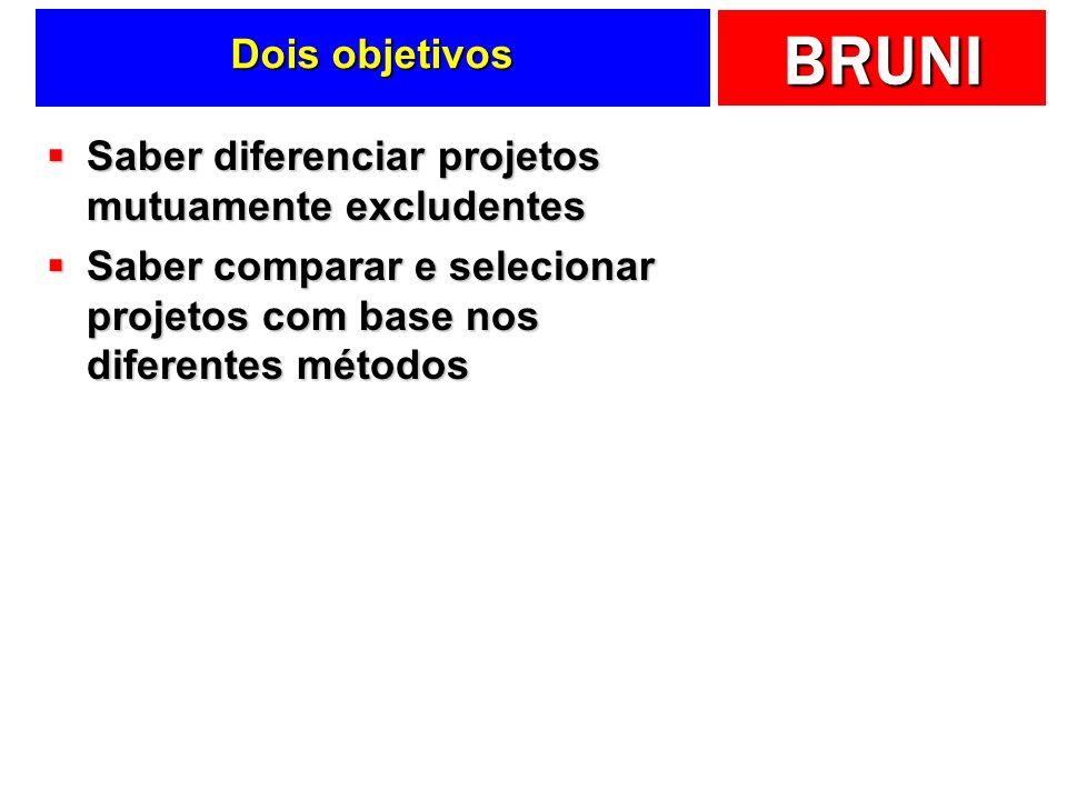 BRUNI Dois objetivos Saber diferenciar projetos mutuamente excludentes Saber diferenciar projetos mutuamente excludentes Saber comparar e selecionar p