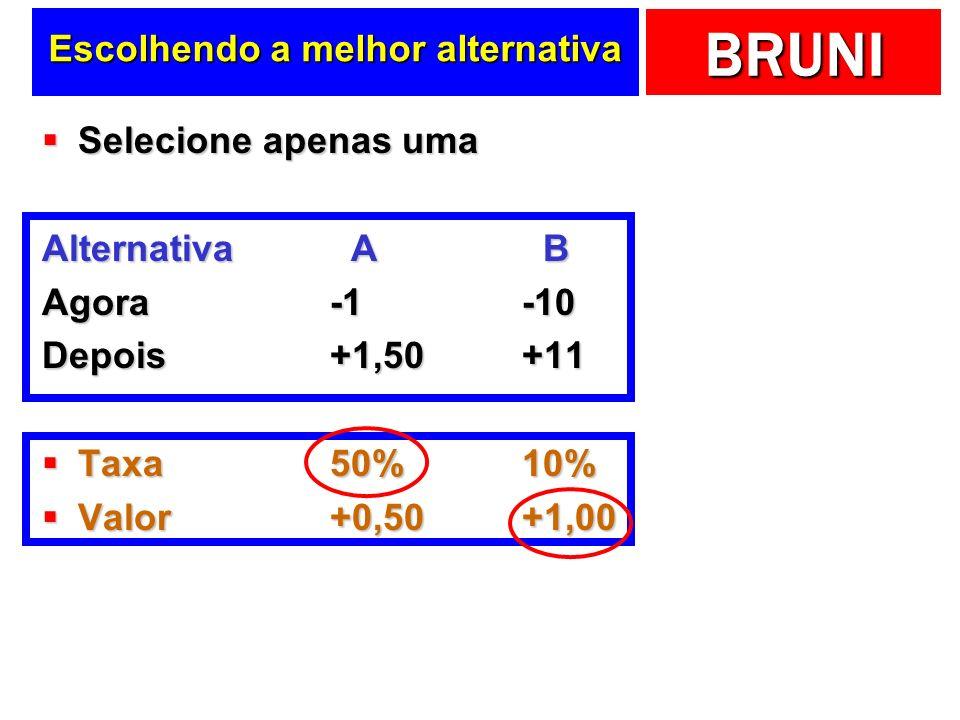 BRUNI Escolhendo a melhor alternativa Selecione apenas uma Selecione apenas uma Alternativa A B Agora-1-10 Depois+1,50+11 Taxa50%10% Taxa50%10% Valor+0,50+1,00 Valor+0,50+1,00