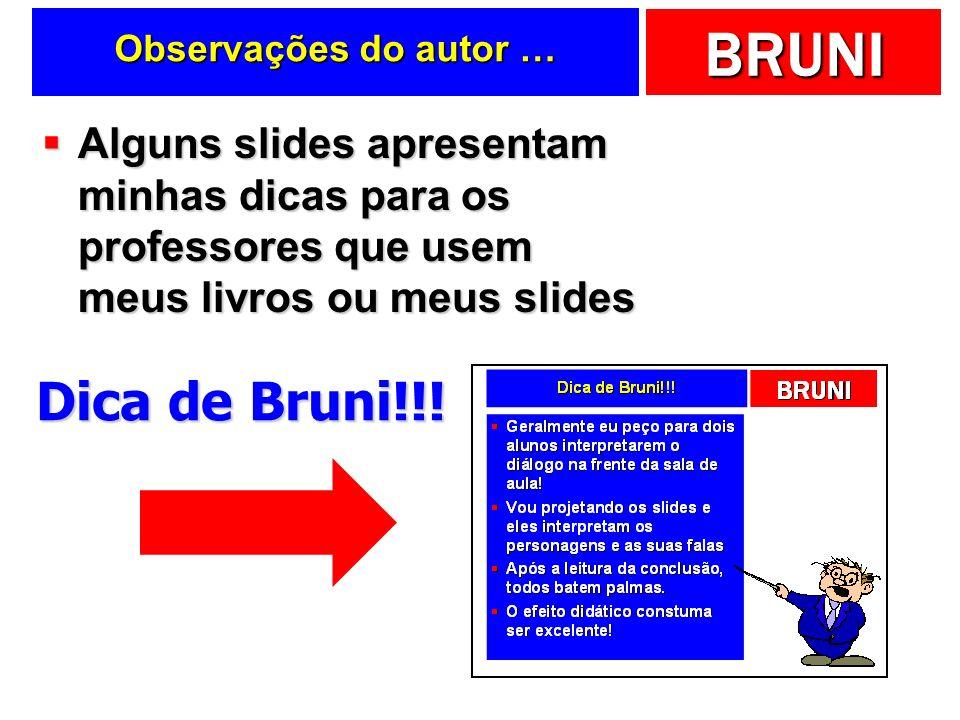 BRUNI Observações do autor … Alguns slides apresentam minhas dicas para os professores que usem meus livros ou meus slides Alguns slides apresentam mi