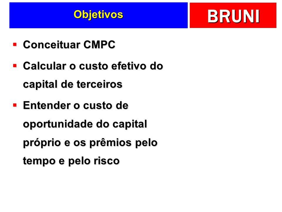BRUNI Objetivos Conceituar CMPC Conceituar CMPC Calcular o custo efetivo do capital de terceiros Calcular o custo efetivo do capital de terceiros Ente