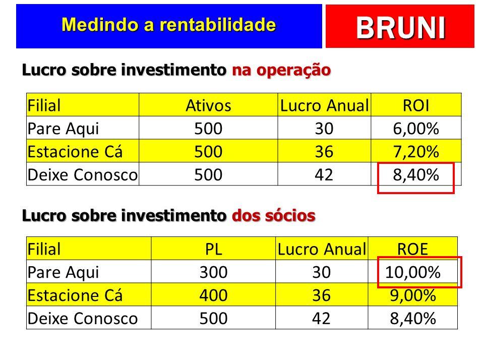 BRUNI Medindo a rentabilidade FilialAtivosLucro AnualROI Pare Aqui500306,00% Estacione Cá500367,20% Deixe Conosco500428,40% Lucro sobre investimento n
