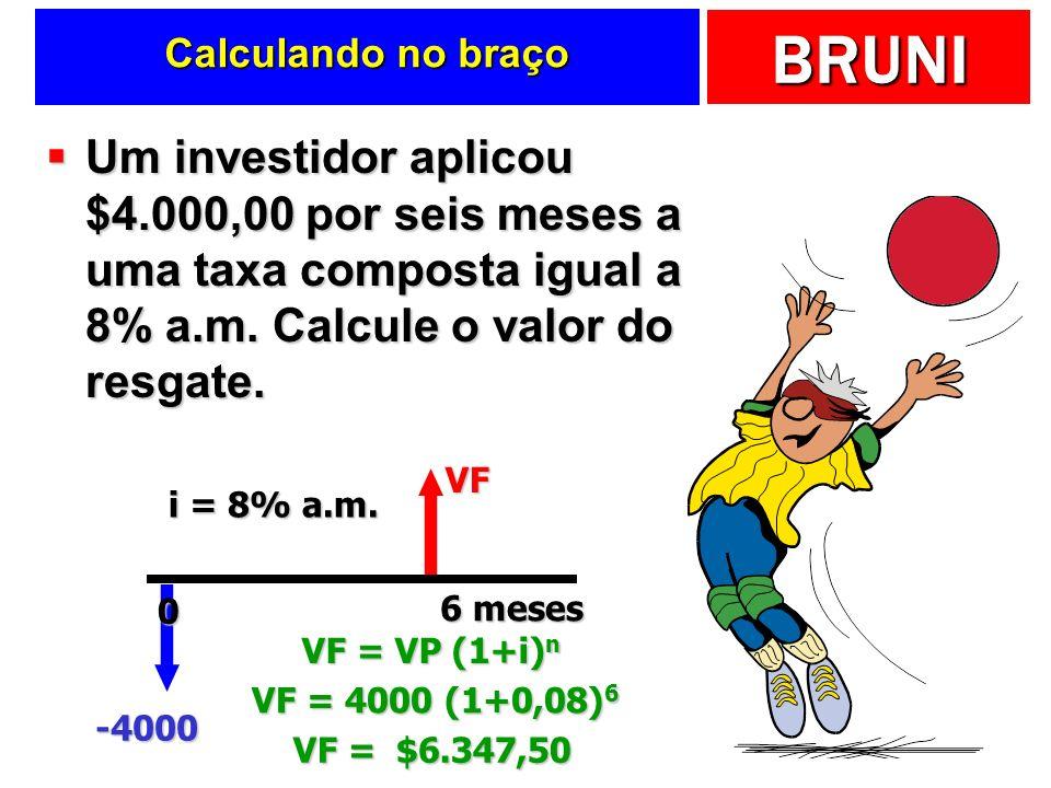 BRUNI Calculando no braço Um investidor aplicou $4.000,00 por seis meses a uma taxa composta igual a 8% a.m. Calcule o valor do resgate. Um investidor