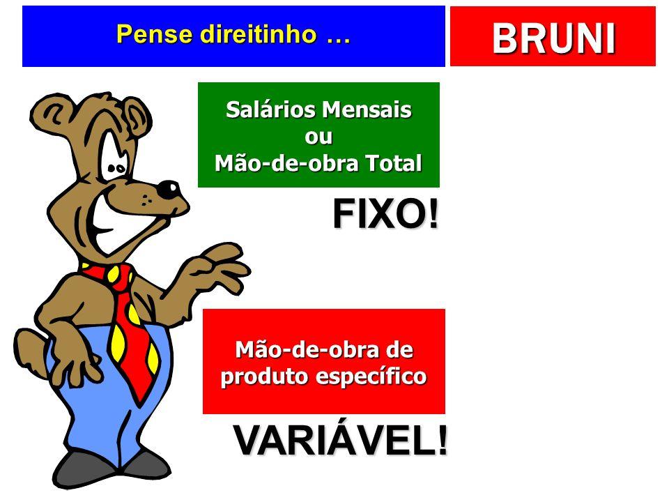 BRUNI Tabela final DescriçãoHoras$ Custo total (F) 160800,00 Bolo limão (V) 40200,00 Bolo laranja (V) 100500,00 Ociosidade (V) 20100,00