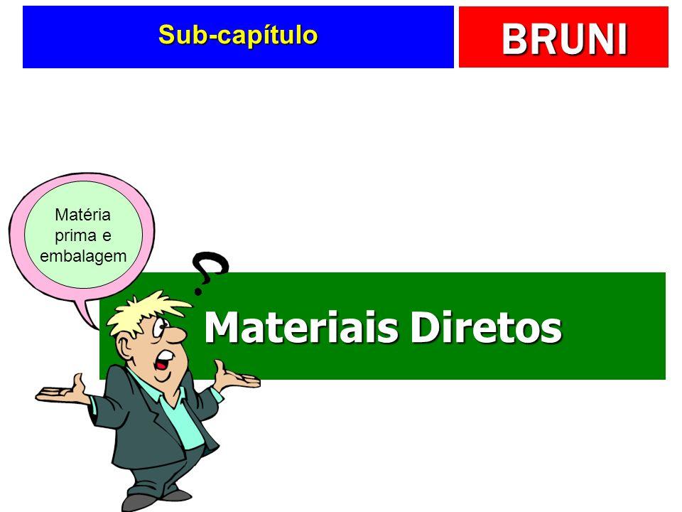 BRUNI Componentes contábeis... Materiais diretos Materiais diretos Mão-de-obra direta Mão-de-obra direta Custos indiretos de fabricação Custos indiret