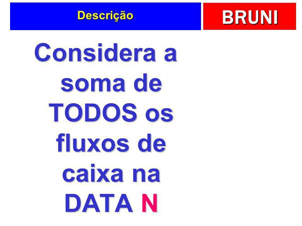 BRUNI Descrição Considera a soma de TODOS os fluxos de caixa na DATA N