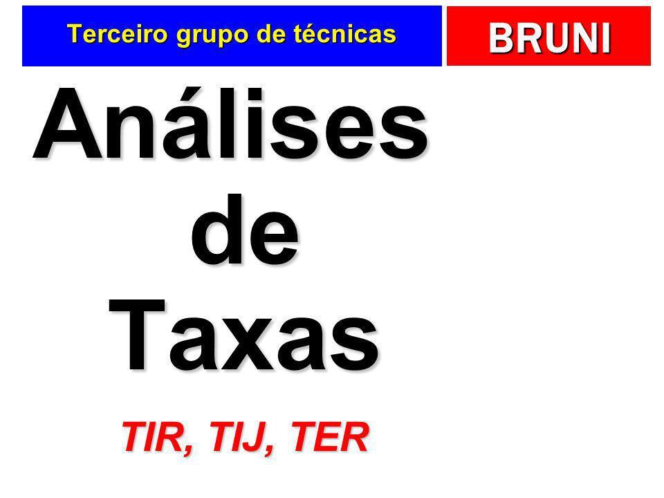 BRUNI Terceiro grupo de técnicas Análises de Taxas TIR, TIJ, TER