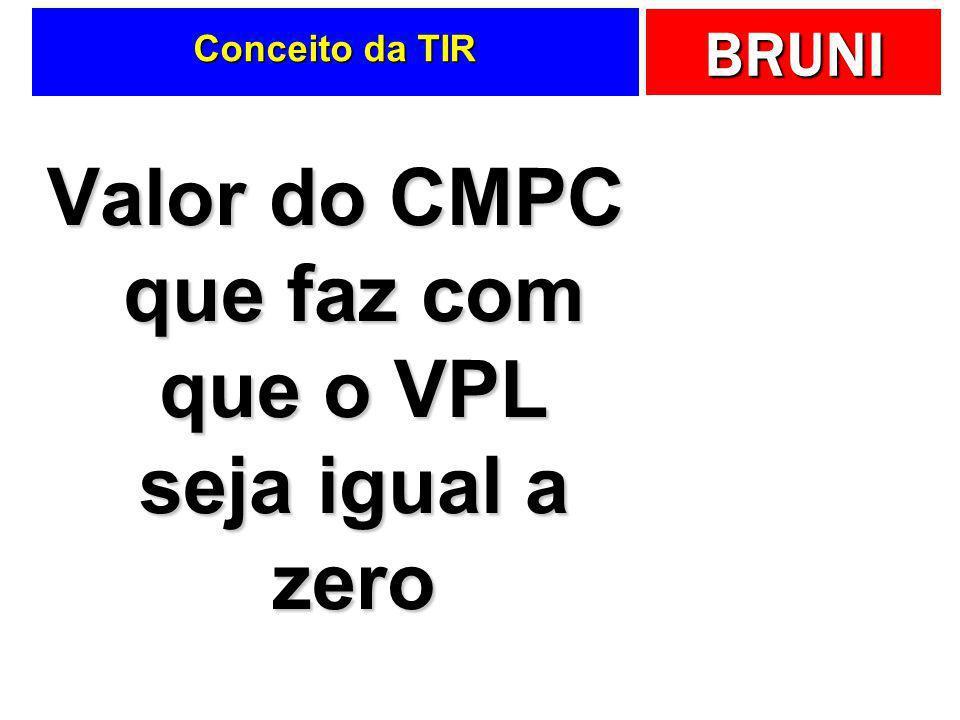 BRUNI Conceito da TIR Valor do CMPC que faz com que o VPL seja igual a zero