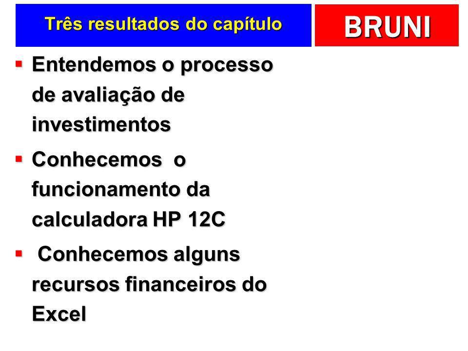 BRUNI Três resultados do capítulo Entendemos o processo de avaliação de investimentos Entendemos o processo de avaliação de investimentos Conhecemos o