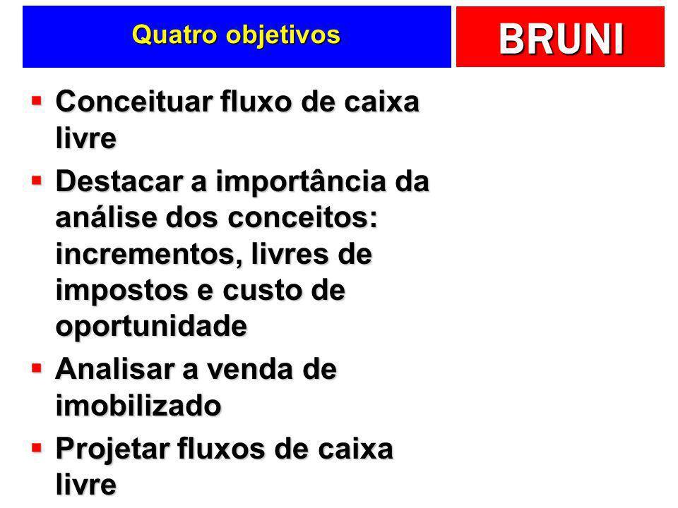 BRUNI Quatro objetivos Conceituar fluxo de caixa livre Conceituar fluxo de caixa livre Destacar a importância da análise dos conceitos: incrementos, l