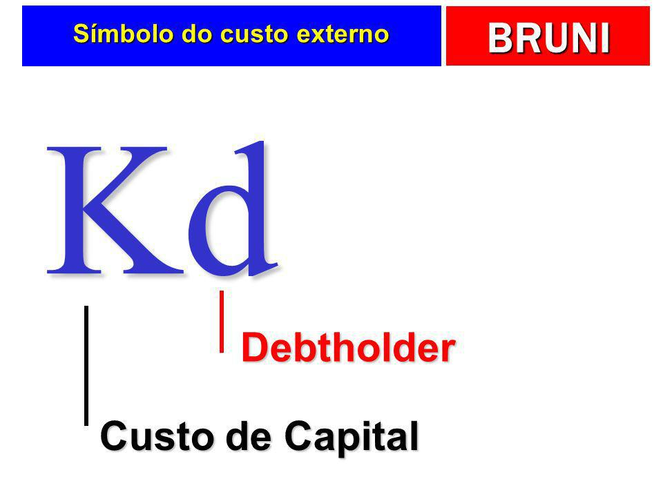 BRUNI Símbolo do custo externo Kd Custo de Capital Debtholder