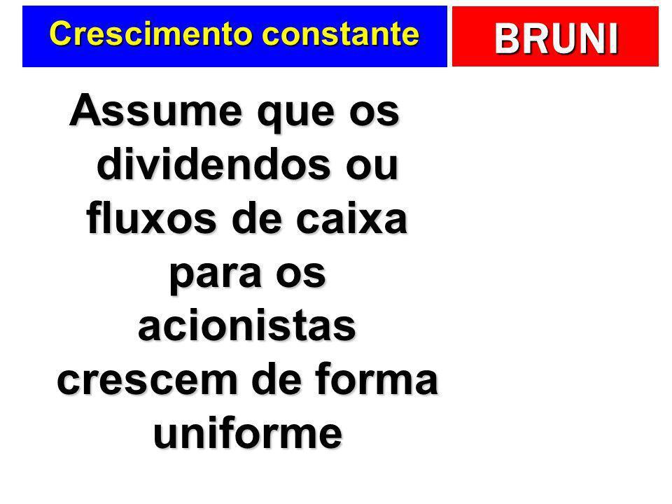 BRUNI Crescimento constante Assume que os dividendos ou fluxos de caixa para os acionistas crescem de forma uniforme