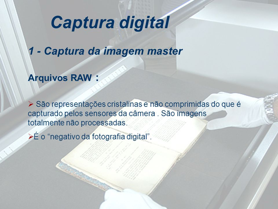 Arquivos RAW : Captura digital São representações cristalinas e não comprimidas do que é capturado pelos sensores da câmera. São imagens totalmente nã