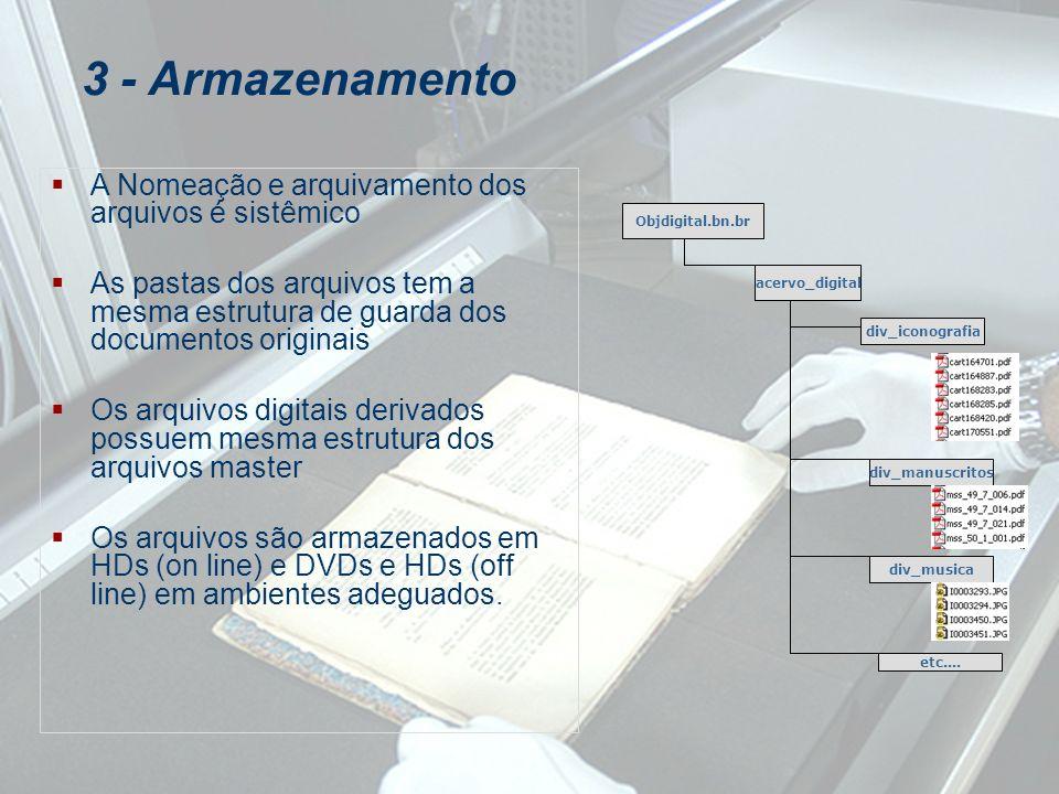 A Nomeação e arquivamento dos arquivos é sistêmico As pastas dos arquivos tem a mesma estrutura de guarda dos documentos originais Os arquivos digitai
