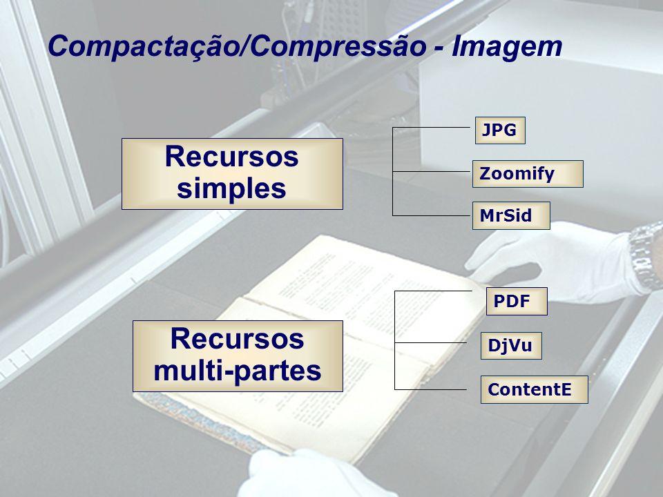 Recursos simples Recursos multi-partes JPG Zoomify DjVu PDF ContentE Compactação/Compressão - Imagem MrSid