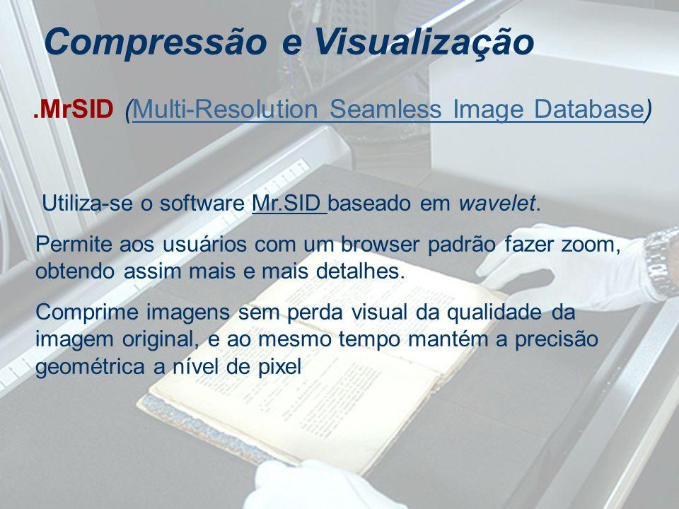 Compressão e Visualização.MrSID (Multi-Resolution Seamless Image Database)Multi-Resolution Seamless Image Database Utiliza-se o software Mr.SID basead