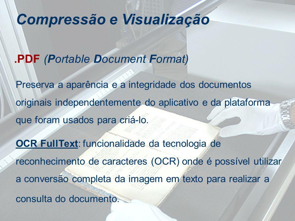 Compressão e Visualização.PDF (Portable Document Format) Preserva a aparência e a integridade dos documentos originais independentemente do aplicativo