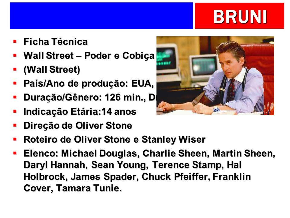 BRUNI Ficha Técnica Ficha Técnica Wall Street – Poder e Cobiça Wall Street – Poder e Cobiça (Wall Street) (Wall Street) País/Ano de produção: EUA, 198