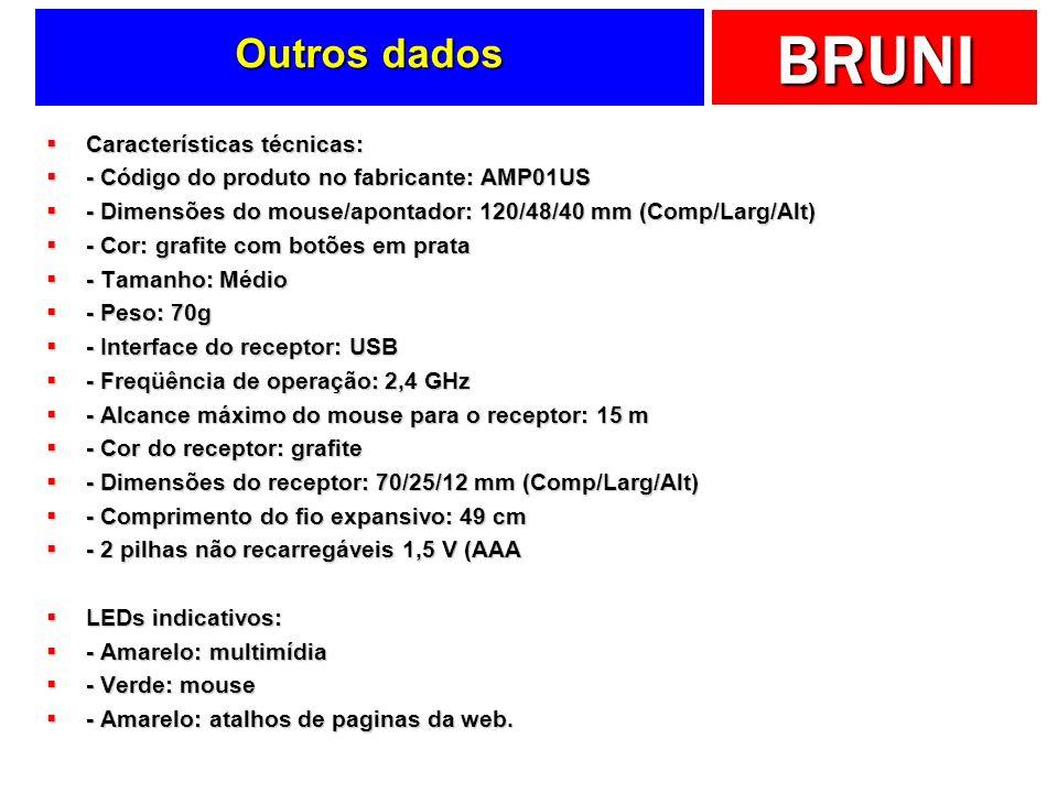 BRUNI Outros dados Características técnicas: Características técnicas: - Código do produto no fabricante: AMP01US - Código do produto no fabricante: A