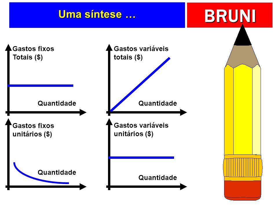 BRUNI Uma síntese … Quantidade Gastos fixos Totais ($) Quantidade Gastos variáveis totais ($) Quantidade Gastos variáveis unitários ($) Quantidade Gas