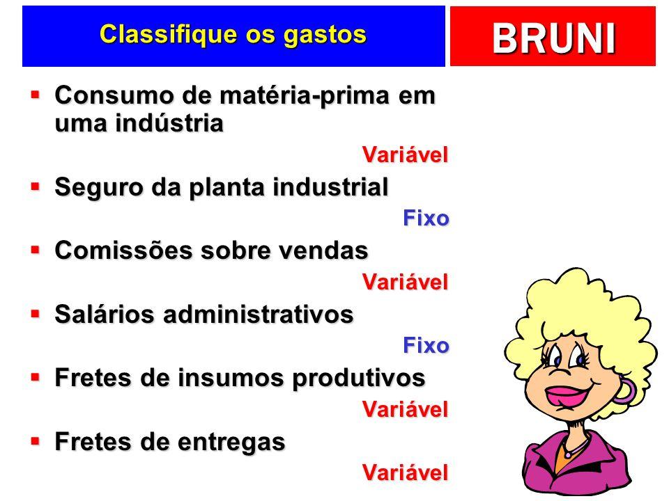 BRUNI Classifique os gastos Consumo de matéria-prima em uma indústria Consumo de matéria-prima em uma indústriaVariável Seguro da planta industrial Se