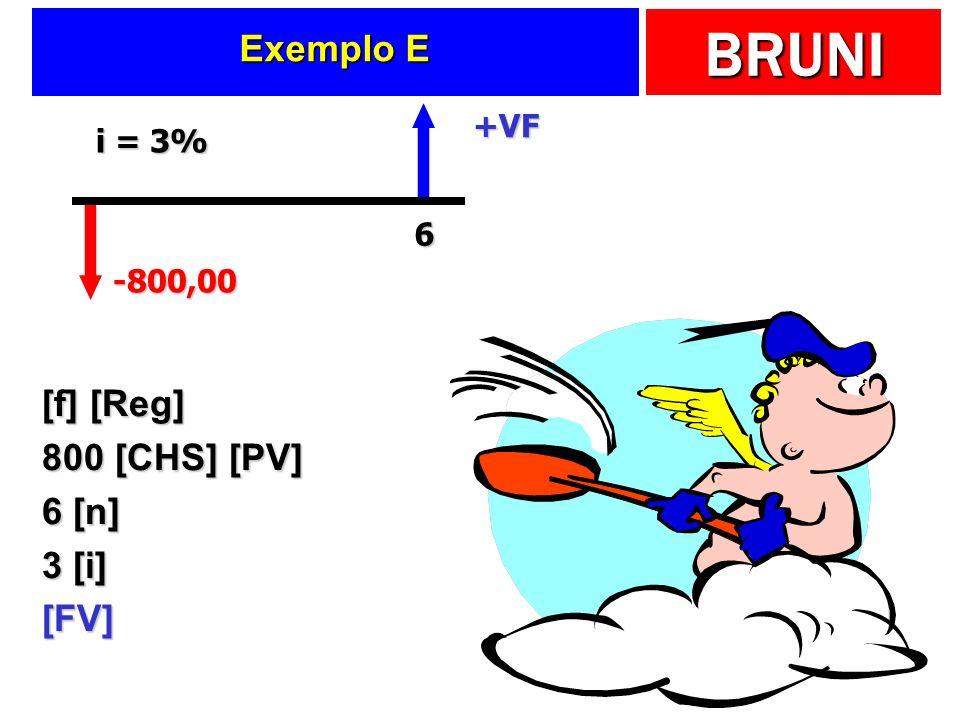 BRUNI Exemplo E [f] [Reg] 800 [CHS] [PV] 6 [n] 3 [i] [FV] -800,00 +VF 6 i = 3%