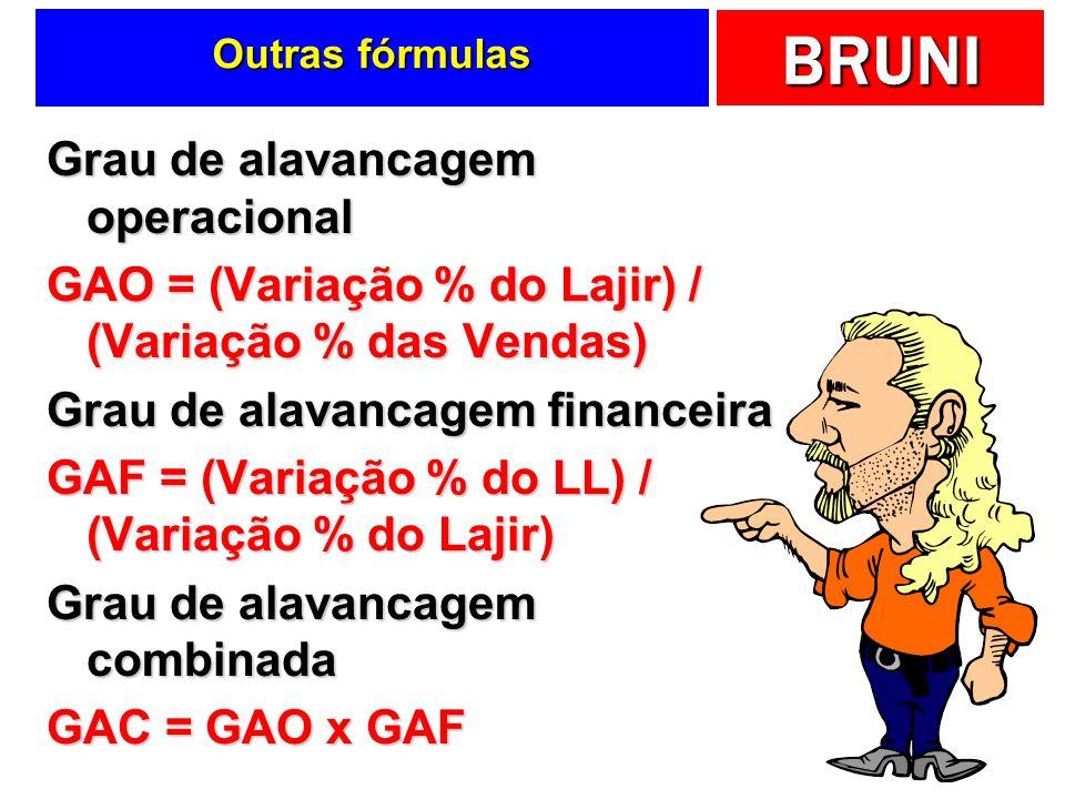 BRUNI Outras fórmulas Grau de alavancagem operacional GAO = (Variação % do Lajir) / (Variação % das Vendas) Grau de alavancagem financeira GAF = (Vari