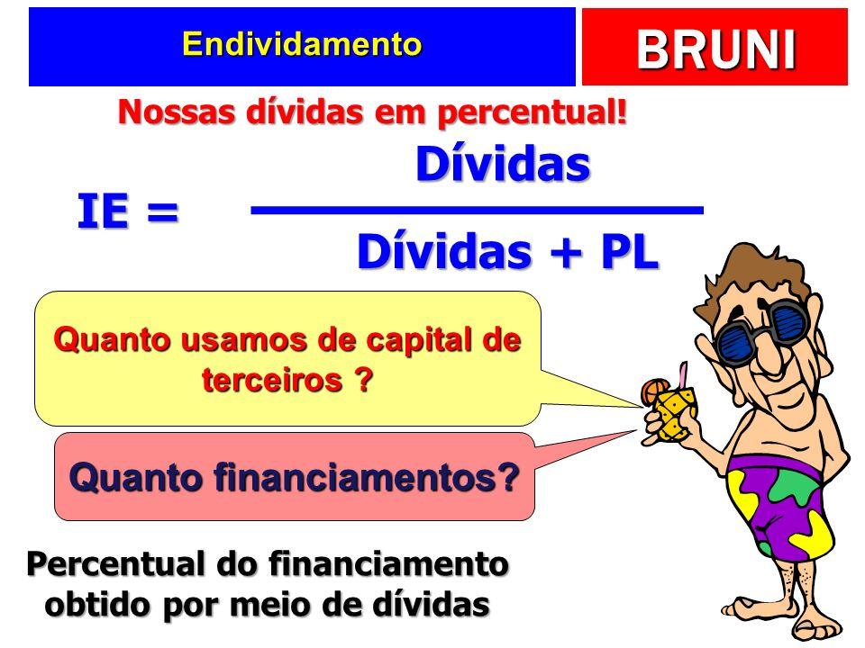 BRUNI Endividamento IE = Dívidas Dívidas + PL Quanto usamos de capital de terceiros ? Quanto financiamentos? Percentual do financiamento obtido por me