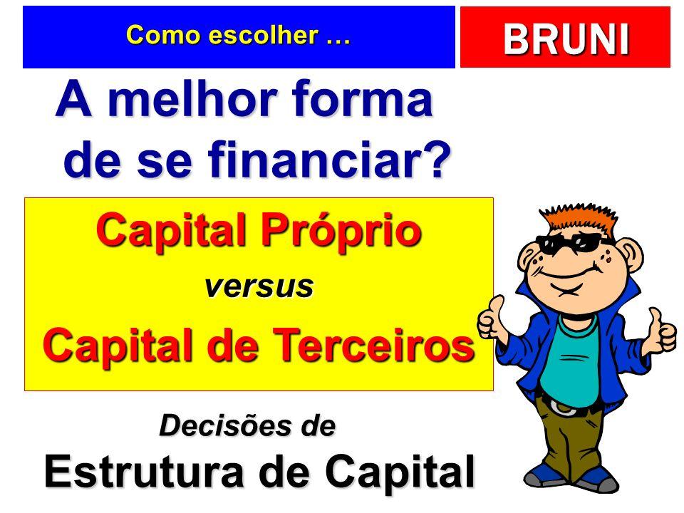 BRUNI Capital Próprio versus Capital de Terceiros Como escolher … A melhor forma de se financiar? Decisões de Estrutura de Capital