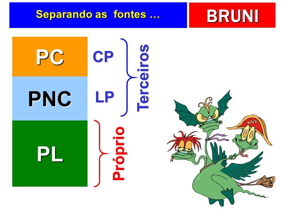 BRUNI Separando as fontes … PC PNC PL Terceiros Próprio CP LP