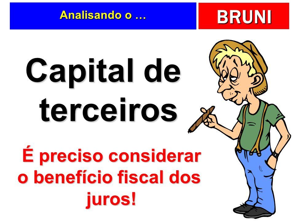 BRUNI Analisando o … Capital de terceiros É preciso considerar o benefício fiscal dos juros!