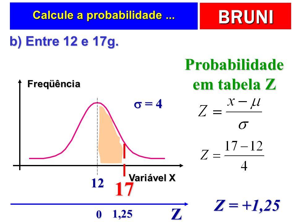 BRUNI Calcule a probabilidade... Freqüência Variável X 12 = 4 = 4 b) Entre 12 e 17g. b) Entre 12 e 17g. 17 Probabilidade em tabela Z Z Z = +1,25 1,25