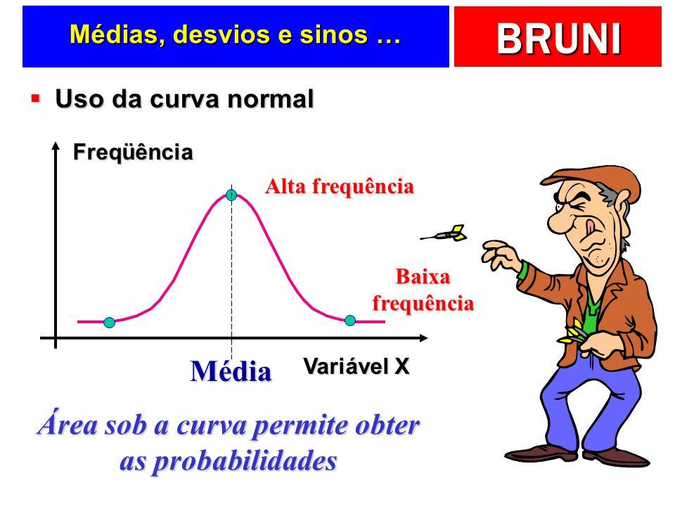 BRUNI Um procedimento invertido Freqüência Variável X média Calcule o valor de Z para área central igual a 95% Área de cada lado = 95%/2 = 47,5% Z = +/-1,96 95% 0,4750 1,90 0,06