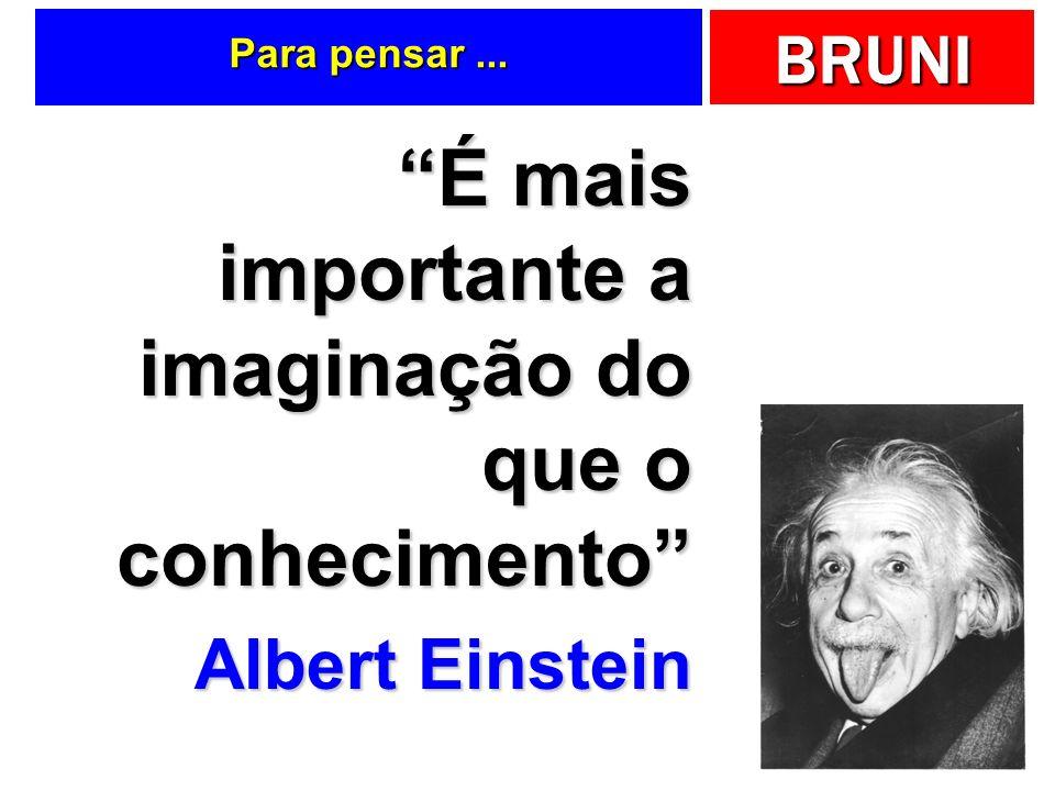 BRUNI Para pensar... É mais importante a imaginação do que o conhecimento Albert Einstein